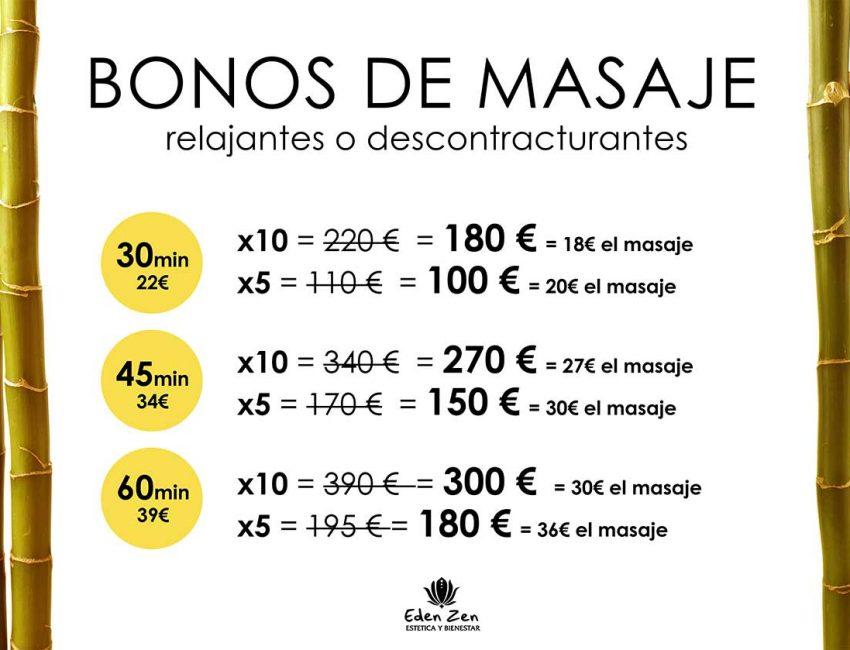 Bonos Masajes en Madrid, Eden Zen Centro de Masajes y estética